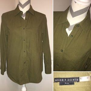 ALICE + OLIVIA   100% cotton button down shirt